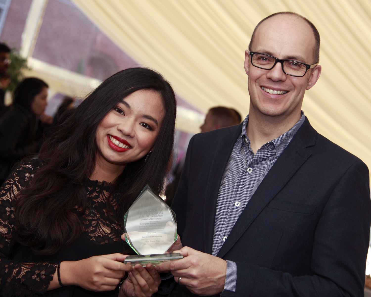 Wyatt's strategy and integrated services director, Jeremy Merkel, with the 2016 Wyatt International Award winner, Nhat Tram Phan