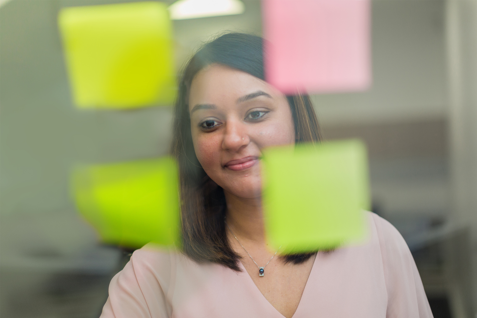 Sahar Afzal looking at a brand strategy map for a B2B company