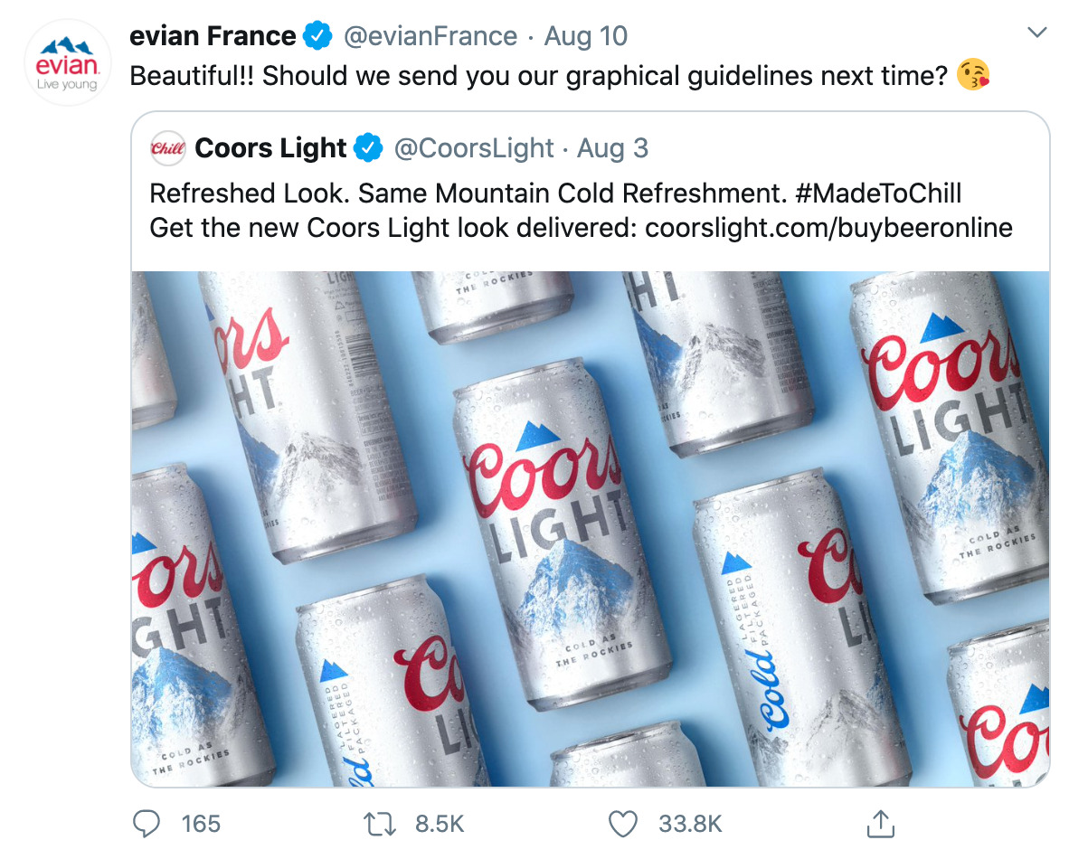 Evian and Corrs Light on Twitter