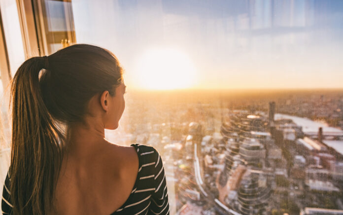 Women looking out of window